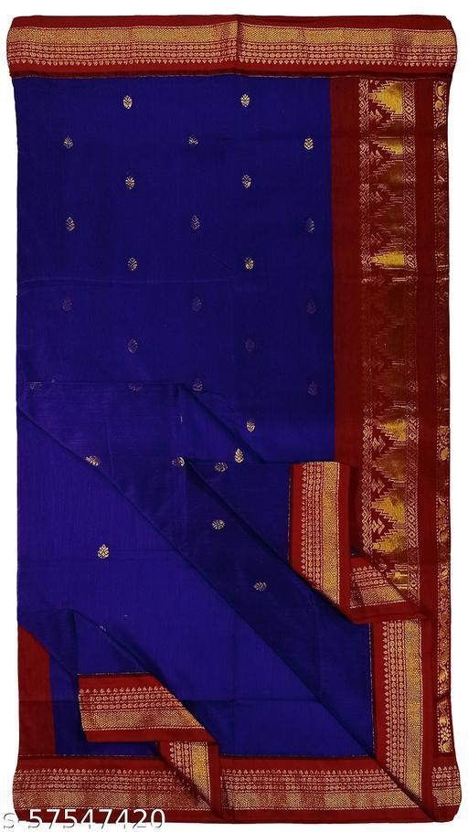 Paul Bastralaya women soft silk Gadwal  butta work Traditional saree with runing blouse piece-(002)