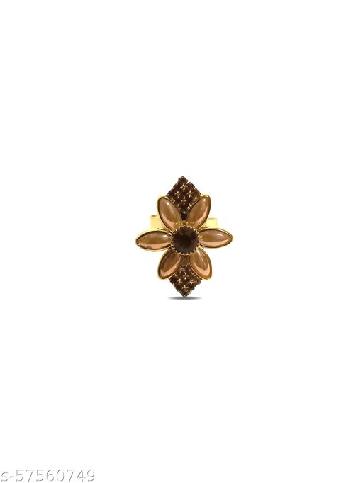 BELIZZI Exclusive Floral Collection flower Design Golden Plated Rings for Women and Girl's
