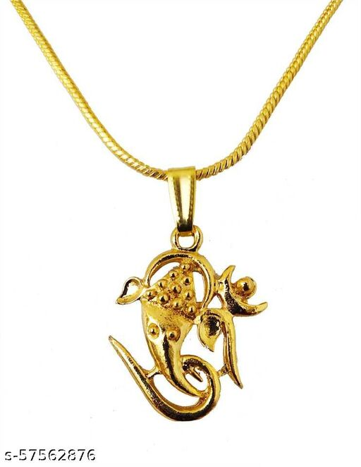 Religious Hindu God Chain Pendant for Unisex Gold-plated Cubic Zirconia Brass Pendant