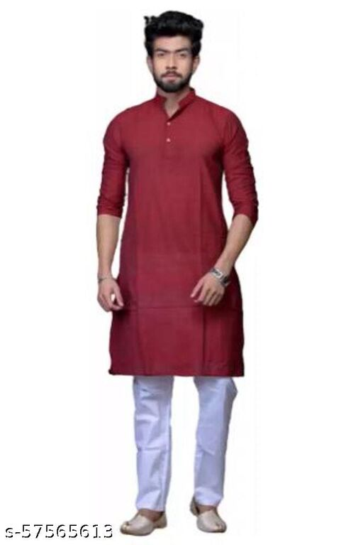 Handloom Khes Cotton Khadi Man Kurta Shantiniketan style color Multicolor