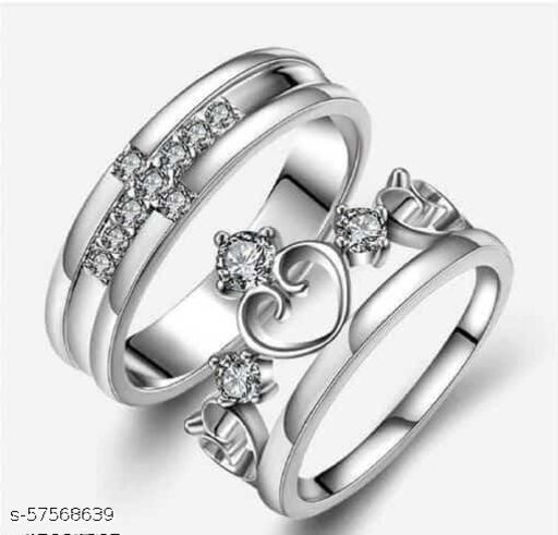 King Crown Queen And Cross Adjustable Sterling Silver Plated Crystal Proposal Stainless Steel Cubic Zirconia Rhodium Plated Ring Set