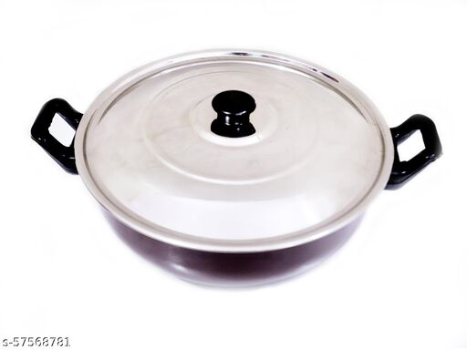 Kiara Trading Co Non-Stick Hard Coated Kadhai with 3.5 LTR Capacity with One Lid COLOUR(BROWN)