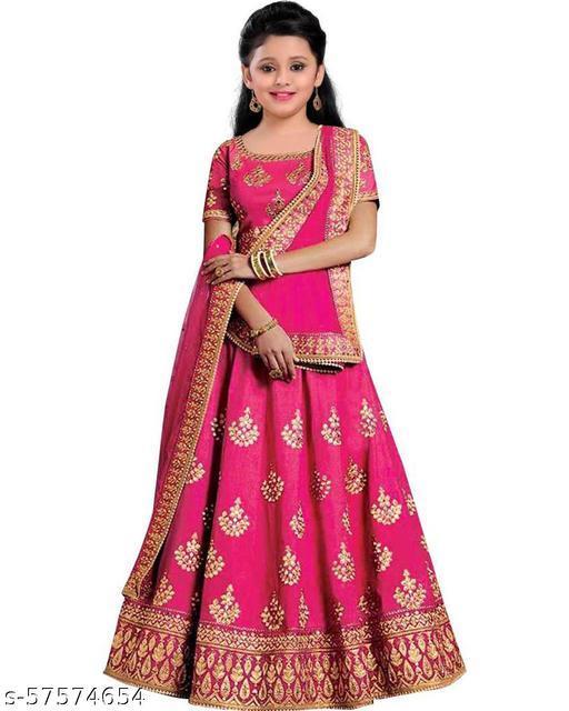 Lehengha Choli Semi Stitched Lehanga Cholis-Kids Lehenga-Bridal Fancy Designer Gagra Choli Suits For Weddings | Taffeta Satin Silk |Girls 8-13 yrs |