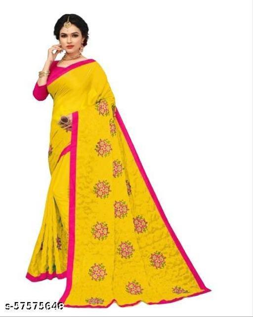 Chiffon Embroidered Regular Saree