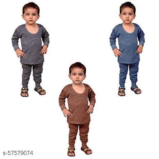 SEE FIT Girl's I Boy's Round Neck Thermal Wear Set for Kids Pack of 3 (Random Color Grey, Blue, Brown)