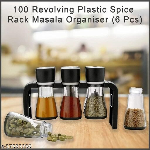Hunter's Present Spice Rack Premium Multipurpose Revolving Plastic Spice Rack Masala Organiser 6 Pcs Set