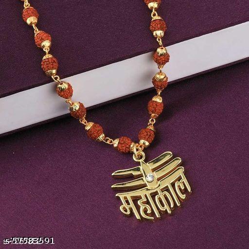 Mahakal nag pendant panchmukhi original rudraksh Mala (8mm 36 beard) gold plated