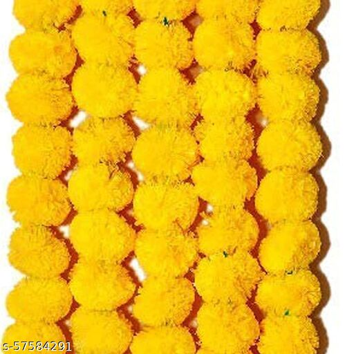 Yellow Marigold Flower Hanging 5FT, Pack of 5 Decorative Toran For Home Decor, Artificial Flower Hanging