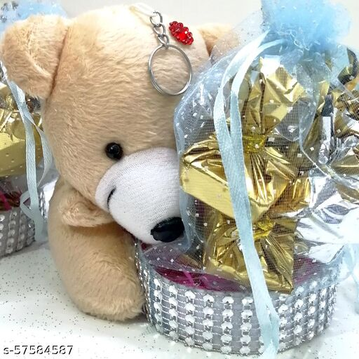 Chocolate Gift Pack Combo - Soft Teddy Bear Pen-Stand (1 Pc) with Chocolates (12 Pcs)