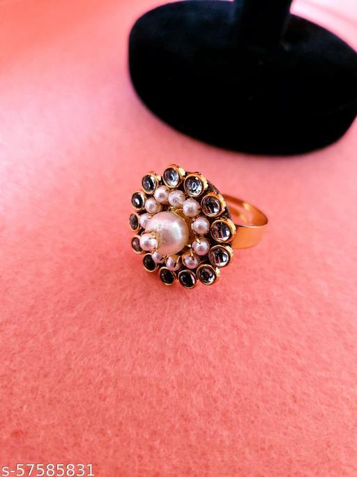 Pearl and Kundan Adjustable Ring