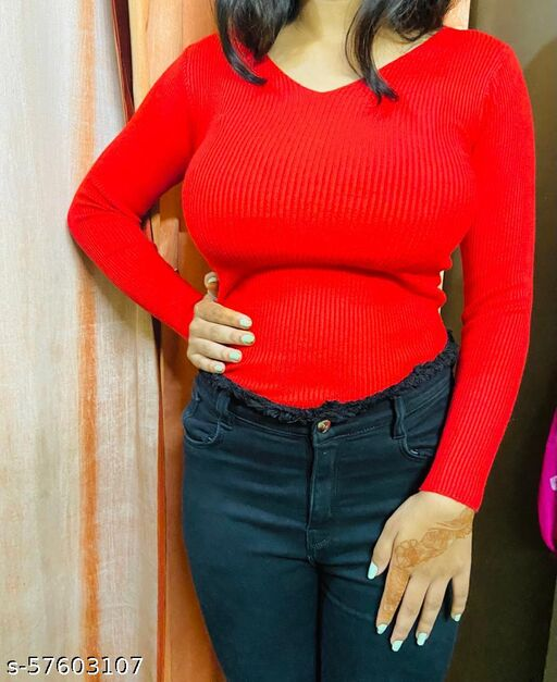 Beautiful and Stylish red full sleeve red top full body skin tight red top full sleeve t shirt shirt for girls and woman