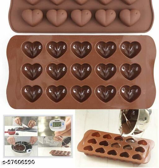 Heart Shape Chocolate Mould, Jelly Candy Mould, Cake Baking Mould, 15-Cavity Bakeware Mould (Multi Color)