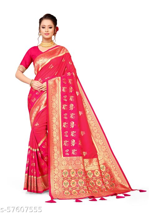 Mameru Women Pink Colored Festive Wear Woven Banarasi Silk Saree With Tassels and Blouse Piece