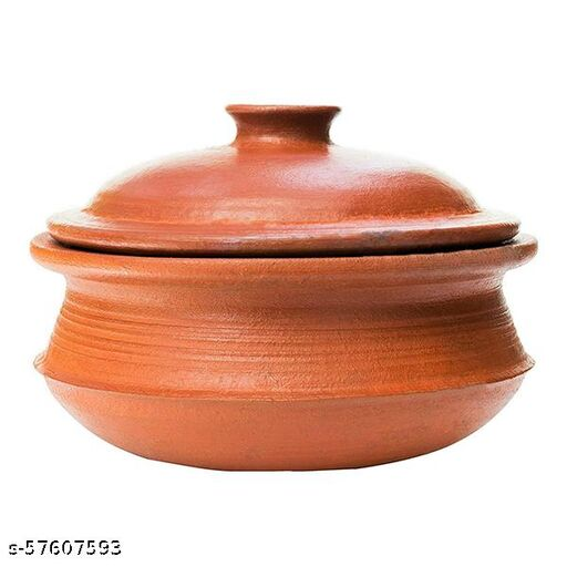ECOCRAFT Red Clay Biryani Pot With Lid 3 L For Cooking