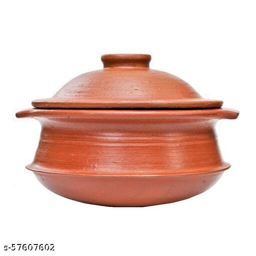 ECOCRAFT Red Clay Pot For Cooking or Earthen Handi With Handle & Lid 1 L