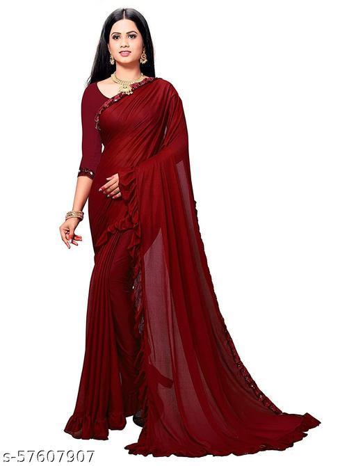 BRIDAL VILLA Women's Lycra Saree With Blouse Piece (RED)…