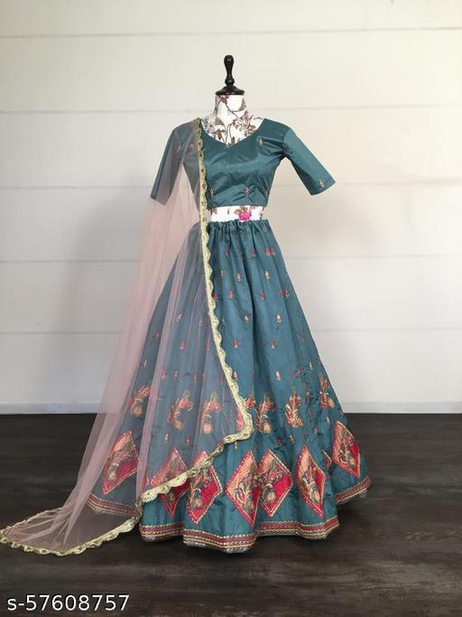 Chidiya Designer's Stunning Zari Foil Designer Lehenga Choli