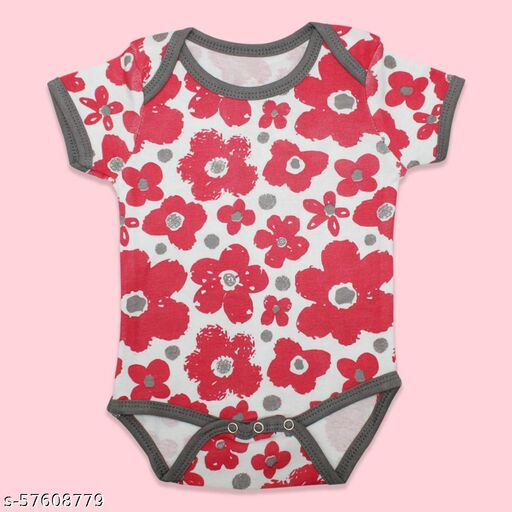 New Born Baby Printed Round Neck Cotton Rompers