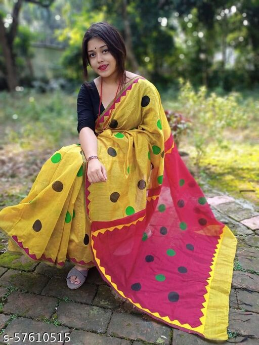 Handloom silk cotton soft saree with digital print ball buttha with temple applic work Saree with blouse pcs