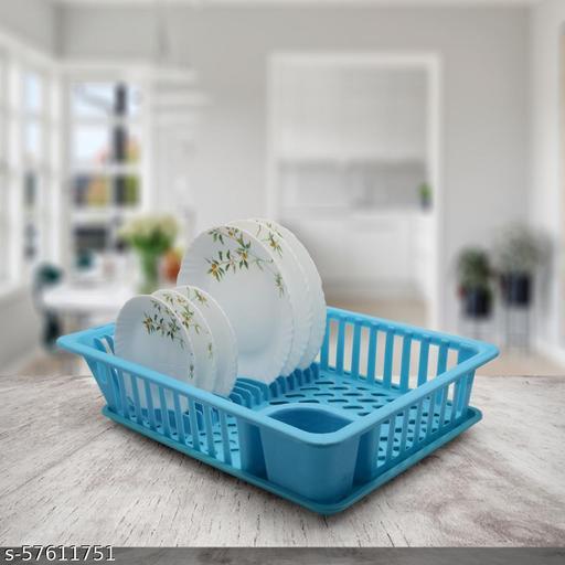 Rudryan Creation Plastic Unbreakable Jumbo Drainer Basket Cum Utensil Holder for Kitchen (50x37x14, Blue) Dish Racks