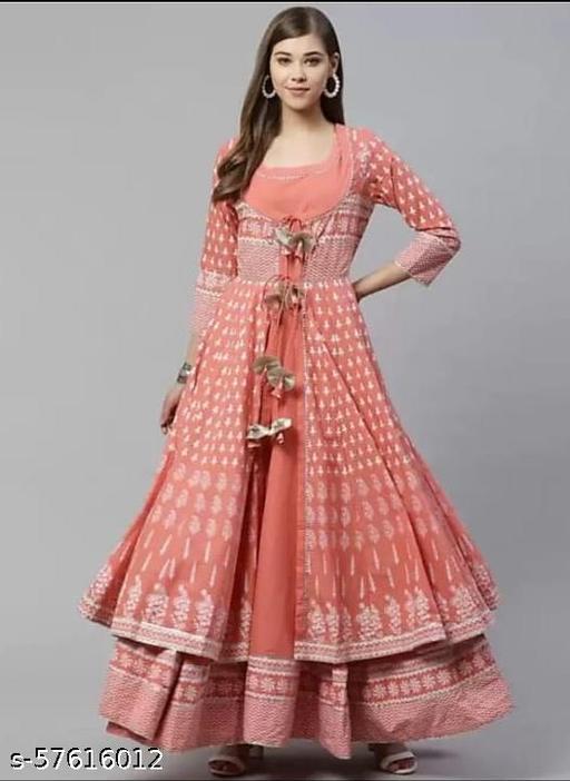 Neha Fashion Women's Rayon Anarkali Kurti with Beautiful Work Lace with Lutkun Shrug