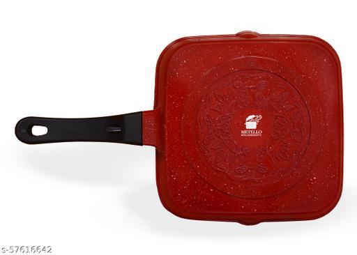 Metello Die Cast Non-Stick Square Grill Pan Red Marble- 24 Cm