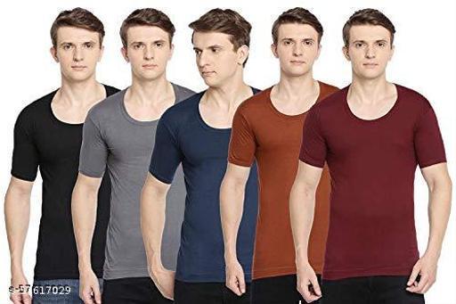 PACK OF 5 - Men's Half Sleeve Color Vests