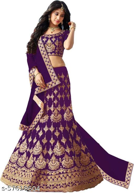Fancy Silk Lehenga designer latest outfit (Pack Of 1, Purple)