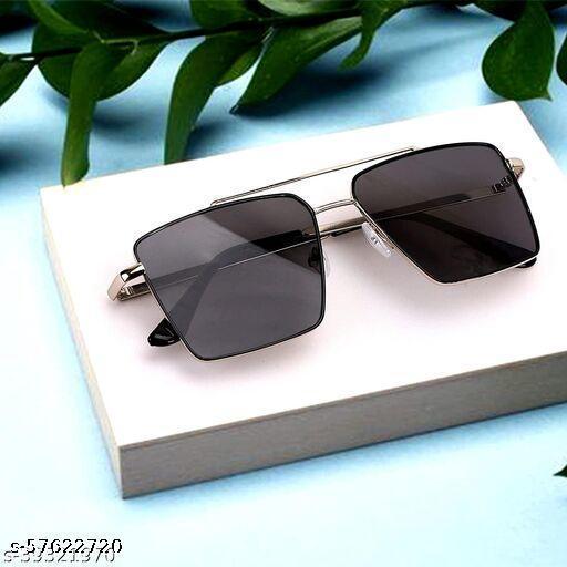 Retro Rectangular Aviator Sunglasses Premium Glass Lens Flat Metal Sun Glasses Men Women