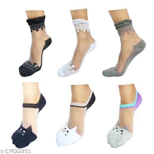 Ankle Length Cotton Kitty & Valentine Crystal Lace Transparent Socks-Pack of 6- RARE COMBO