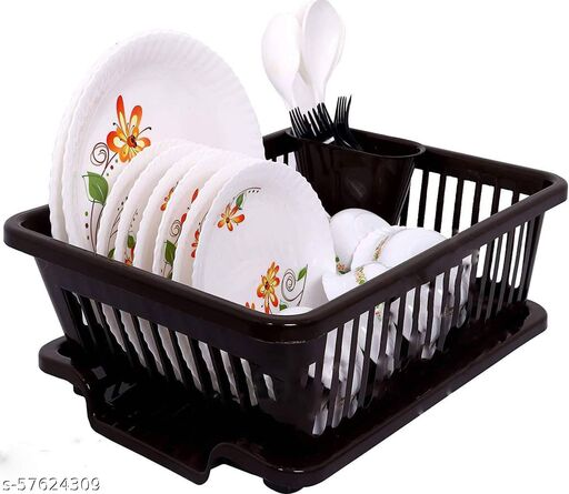 Dhyana Mart 3 in 1 Large Sink Set Dish Rack or Drainer With Spoon Holder and Tray For Kitchen,  Plastic Dish Drainer,  Dish Rack Organizers (Pack of 2) (Color - Chocolate Brown)