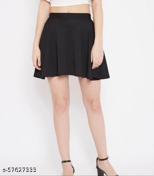 Riya Women Stretch Waist Flared Mini Skater Short Skirt-Black-1