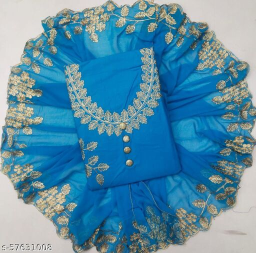 p c cotton n dupatta work Semi-Stitched Suits