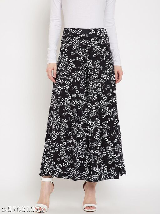 Camey Printed Regular Fit Women Plazzo (LP-77_SMALL.WHITE.FLW)