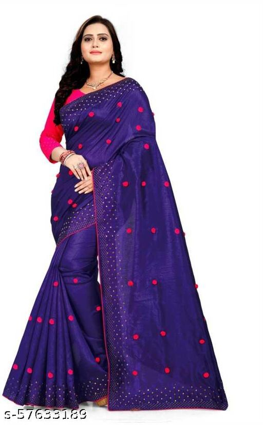 Paper Silk Saree With Pom Pom Work & Mirror Work