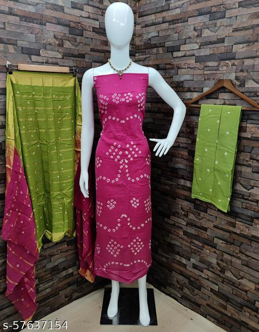Vidhya Fashion Hub Pure Cotton Bandhni Suit Material{UNSTITICH}