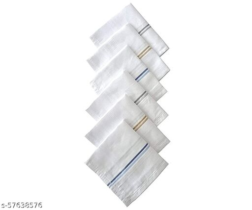 00% Cotton Premium Collection Handkerchiefs Hanky For Men - Striped XXL King Size (Color White 12 Pcs)