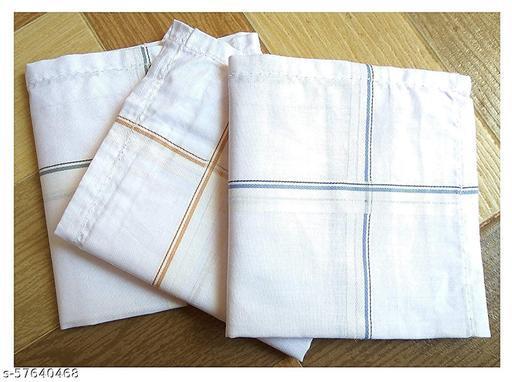 100% Cotton Premium Collection Handkerchiefs Hanky For Men - Striped XXL King Size (Color White 3 Pcs)