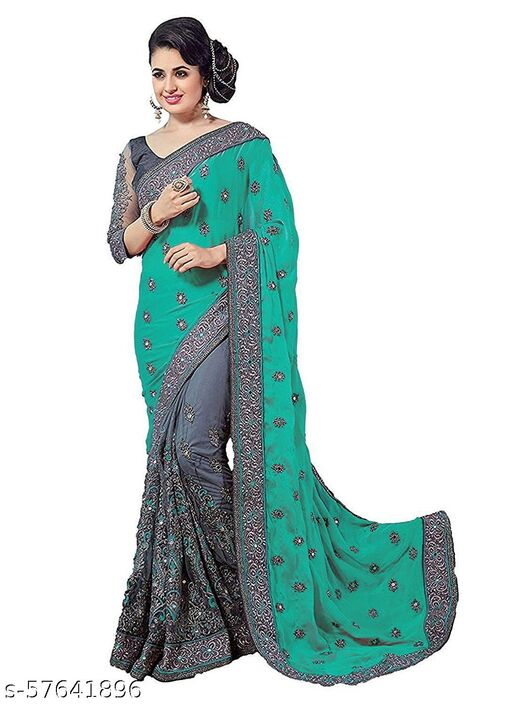Green Embroidered Vichitra Pure Silk & Net Saree With Blouse Piece