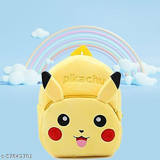 Pikachu Soft Toy Bag, Plush Bag, Teddy Bag, School Bag for Kids 2-6 yrs