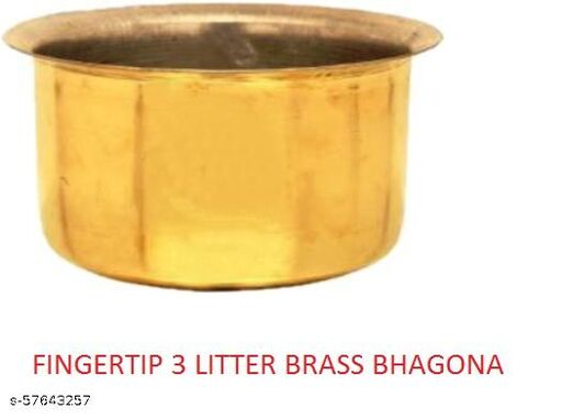 3 LITTER BRASS BHAGONA  Milk Pots & Topes