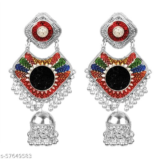 Muccasacra Multicolour Meenakari with Mirror finish Beads Sterling Silver, German Silver, Glass Stud Earring