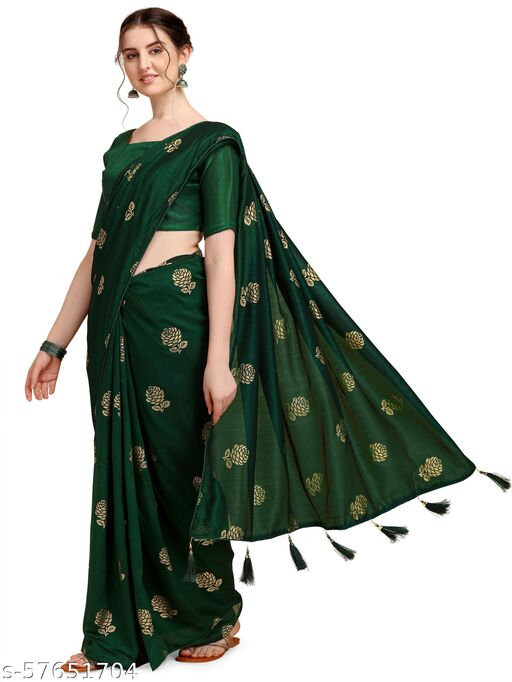 Fab Viva Women's Foil Vichitra Blooming Green Saree With Blouse Piece