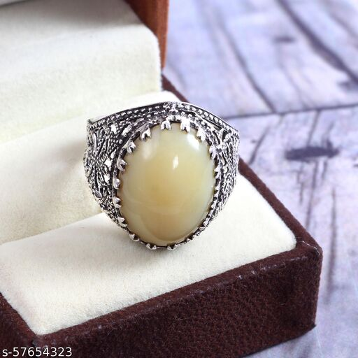 925 Sterling Silver Ring, Natural Ethiopian Yellow Opal Ring, Oval Cabs, Vintage Ring, Ring for Man