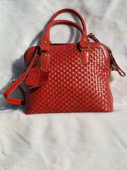 RnS handcrafted pure leather handbag and Handbags  in cherry red colour