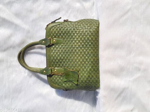 Handcrafted pure leather handbag with Chatai print