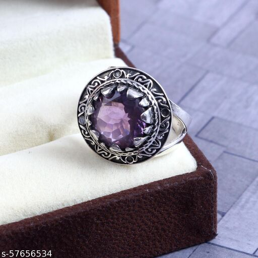 Beautiful Ring 925 Solid Sterling Silver Ring Beauty Natural sterling silver amethyst ring US Ring Size - 7