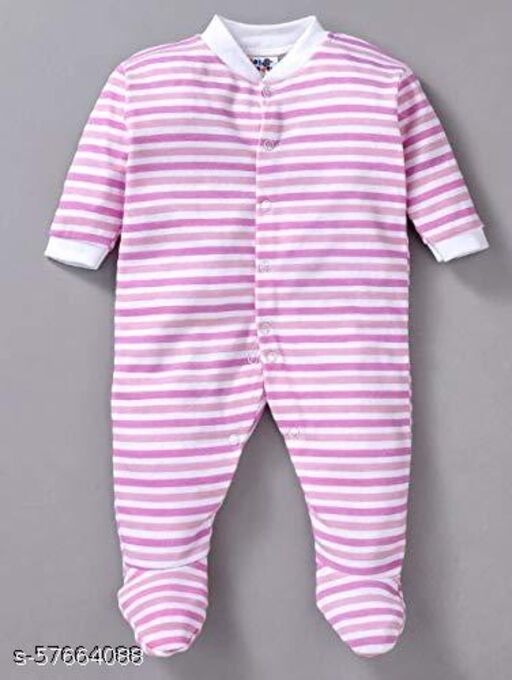 FIRST CHOICE New Born Baby Multi-Color Long Sleeve Sleep Suit Romper Onesies for Boys and Girls Set of 3 (Pink)