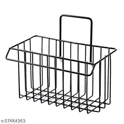 SHAIMON ENTERPRISE Drain Basin Basket for Bathroom Kitchen Storage Sink Rack Rack Plastic Black Big Size Box Floor Standing Hanging Holder on Hair Steel Large Long Mounted Organizer 18 inch