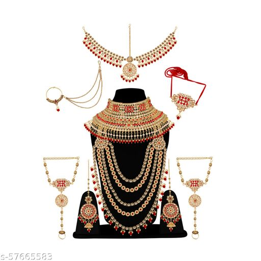 Padmavati Gold Plated Traditional Dulhan Bridal Jewellery Set for Women and Girls for Wedding with Full Accessories Glorycore